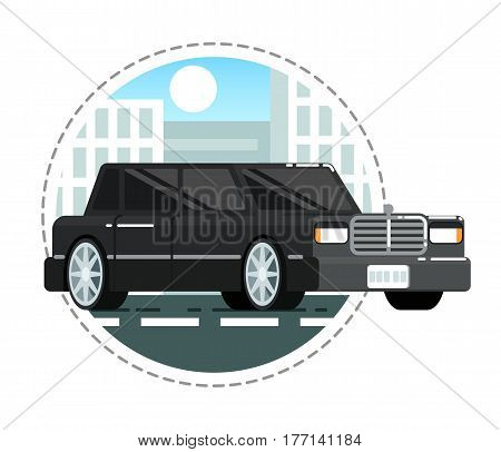 Black luxury limo car icon isolated on white background vector illustration. Modern automobile, people transportation, auto vehicle in flat style.