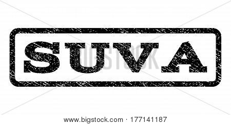 Suva watermark stamp. Text caption inside rounded rectangle with grunge design style. Rubber seal stamp with unclean texture. Vector black ink imprint on a white background.
