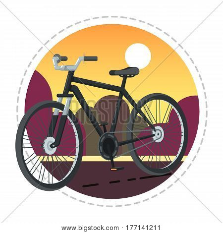 Vintage bicycle icon isolated on white background vector illustration. Cycle or bike in flat design. People transportation, eco city vehicle.