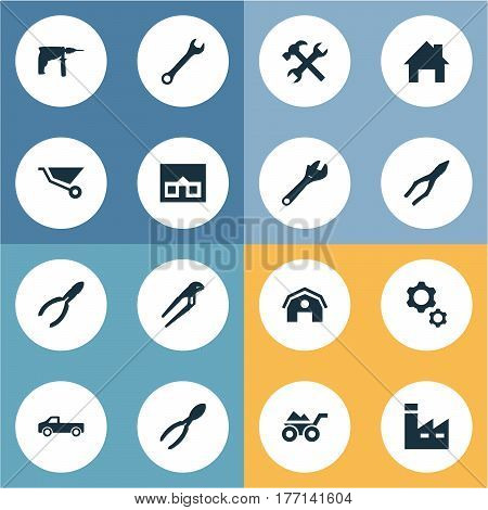 Vector Illustration Set Of Simple Build Icons. Elements Adjustable Wrench, Loaded Trolley, Clamping Instrument And Other Synonyms Factory, Barn And Workshop.
