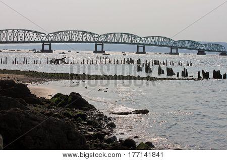 Astoria Megler Bridge Crossing the Columbia River at Astoria Oregon