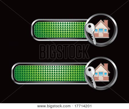 house and key green checkered tabs
