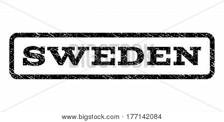 Sweden watermark stamp. Text caption inside rounded rectangle with grunge design style. Rubber seal stamp with scratched texture. Vector black ink imprint on a white background.