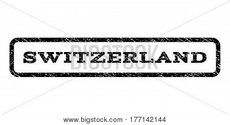 Switzerland watermark stamp. Text tag inside rounded rectangle with grunge design style. Rubber seal stamp with unclean texture. Vector black ink imprint on a white background.