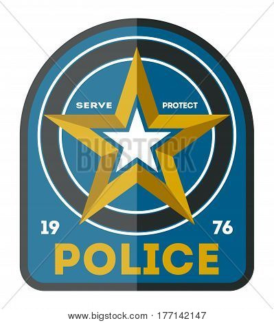 Police officer symbol icon isolated on white background vector illustration. Federal security emblem, state detective label, cop sign in flat design.