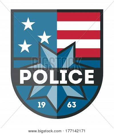 USA Police department badge isolated on white background vector illustration. Federal security emblem, state detective label, cop sign in flat design.