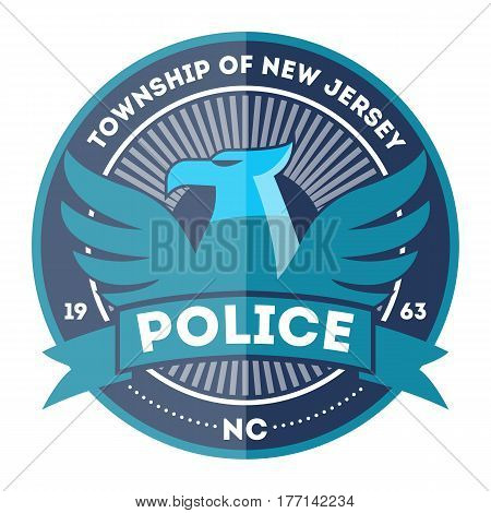 State police symbol isolated on white background vector illustration. Federal security emblem, state detective label, cop sign in flat design.