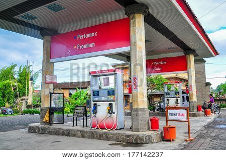 Bali,Indonesia-May 30,2010:View of Pertamina petrol station in Bali,Indonesia on 30th May 2010.It is the largest producer & exporter of Liquefied Natural Gas (LNG) in Indonesia,Asean.