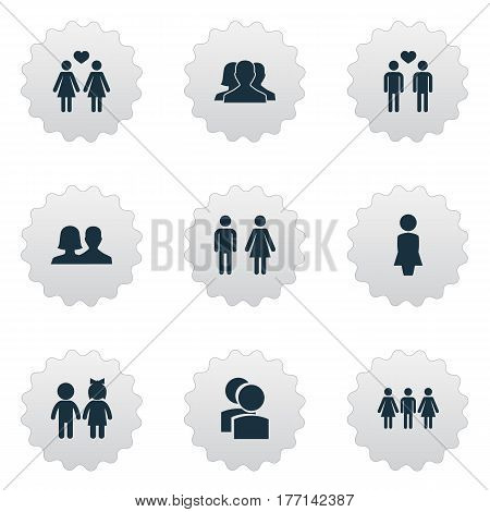 Vector Illustration Set Of Simple Lovers Icons. Elements Homosexual, Friends, Dissolve The Marriage And Other Synonyms Buddies, Alternative And Beloveds.
