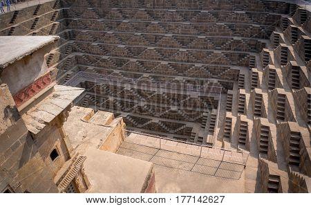 Chand Baori Stepwell In Village Of Abhaneri