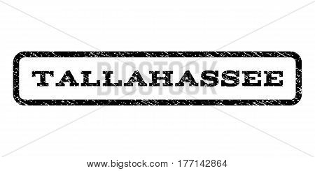 Tallahassee watermark stamp. Text tag inside rounded rectangle frame with grunge design style. Rubber seal stamp with scratched texture. Vector black ink imprint on a white background.