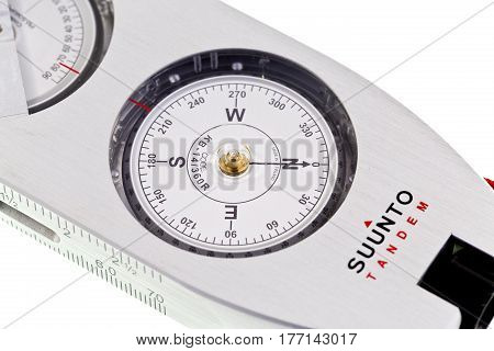 REDCLIFFE, AUSTRALIA - MARCH 8, 2017: Picture of a pocket size precision instrument combining compass and clinometer in tandem and case