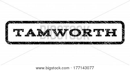 Tamworth watermark stamp. Text caption inside rounded rectangle frame with grunge design style. Rubber seal stamp with dirty texture. Vector black ink imprint on a white background.