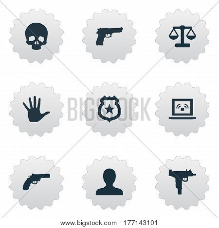 Vector Illustration Set Of Simple Offense Icons. Elements Person, Policeman Star, Gun And Other Synonyms Wireless, Automatic And Person.
