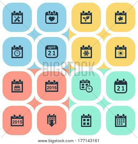 Vector Illustration Set Of Simple Time Icons. Elements Snowflake, Annual, Reminder And Other Synonyms Data, Special And Almanac.