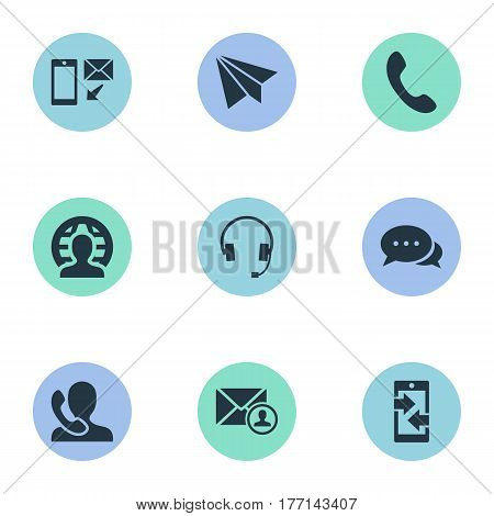 Vector Illustration Set Of Simple Contact Icons. Elements Telephone Switchboard, Aircraft, Earphone And Other Synonyms Plane, Arrows And Global.