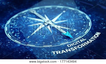Digital Transformation concept - Compass needle pointing Digital Transformation word. 3d rendering