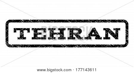 Tehran watermark stamp. Text tag inside rounded rectangle frame with grunge design style. Rubber seal stamp with dirty texture. Vector black ink imprint on a white background.