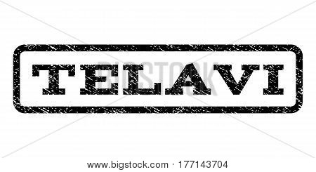 Telavi watermark stamp. Text tag inside rounded rectangle frame with grunge design style. Rubber seal stamp with scratched texture. Vector black ink imprint on a white background.