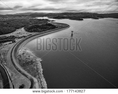 Black And White  Aerial View Of Cardinia Reservoir Lake And Rural Surroundings