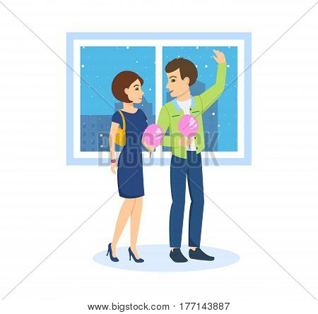 A young couple in love walks on the background to the streets of the city, communicates, has fun, eats sweet wadding. Vector illustration isolated on white background.