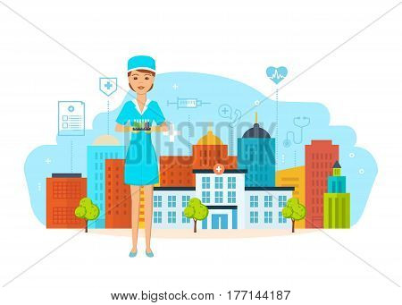 A medical worker modern system healthcare in work clothes, holding a test tube with patient analyzes and chemicals, against the backdrop of the hospital building and city streets. Vector illustration.