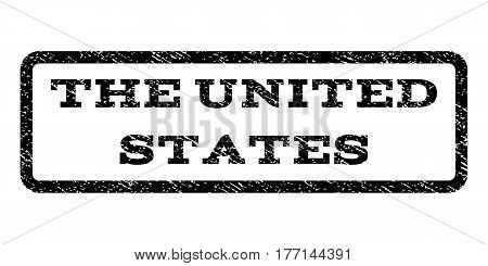 The United States watermark stamp. Text tag inside rounded rectangle with grunge design style. Rubber seal stamp with scratched texture. Vector black ink imprint on a white background.