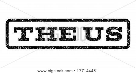 The Us watermark stamp. Text tag inside rounded rectangle with grunge design style. Rubber seal stamp with scratched texture. Vector black ink imprint on a white background.