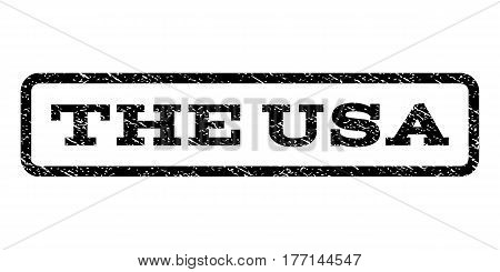 The USA watermark stamp. Text tag inside rounded rectangle with grunge design style. Rubber seal stamp with unclean texture. Vector black ink imprint on a white background.