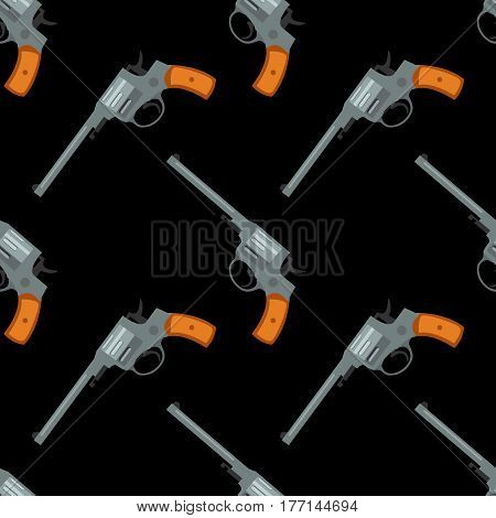 Pistol handgun security and military weapon seamless pattern, tiling ornament. Metal revolver gun. Vector illustration.