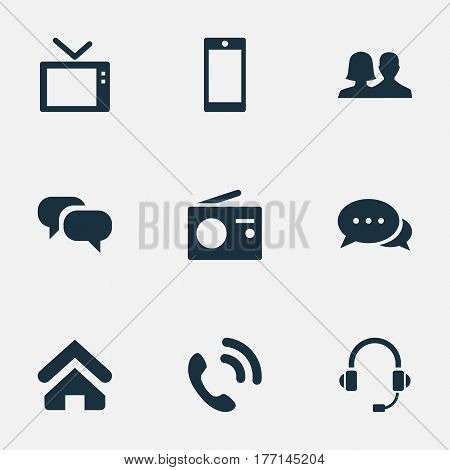 Vector Illustration Set Of Simple Transmission Icons. Elements House Location, Conversation, Telly And Other Synonyms Talking, Walkie And Conversation.