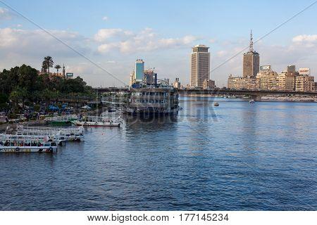 Egypt, cairo Nov 2012: Cairo Skyline along Nile River