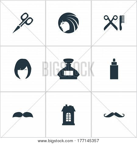 Vector Illustration Set Of Simple Hairdresser Icons. Elements Glamour Lady, Premises, Hair And Other Synonyms Hair, Odor And Beard.