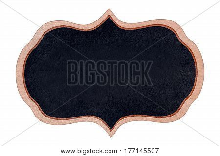 Shape chalkboard wood frame with black surface for message board signs Isolated on white background With copy space for adding more text. (Clipping path included)