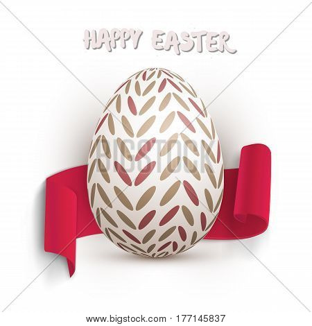 Illustration of Vector Easter Egg. Happy Easter Painted Vector Egg with Ribbon Banner and DOF Photography Effect Isolated on White Background
