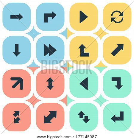 Vector Illustration Set Of Simple Indicator Icons. Elements Downwards Pointing, Raise-Fall, Refresh And Other Synonyms Downwards, Right And Down.