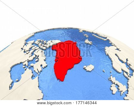 Greenland On Globe With Watery Seas