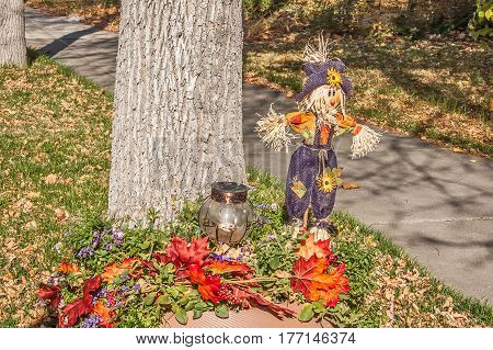 Cute scarecrow with red and orange leaves decorating a terrace