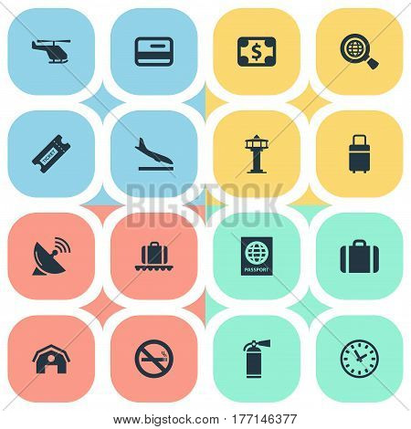 Vector Illustration Set Of Simple Travel Icons. Elements Certificate Of Citizenship, Credit Card, Cigarette Forbidden And Other Synonyms Stop, Extinguisher And Citizenship.