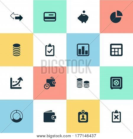 Vector Illustration Set Of Simple Financial Icons. Elements Two Directions, Progress, Segmentation And Other Synonyms Check, Control And Clipboard.