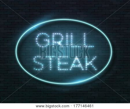 Illustration of Vector Neon Sign Icon. Grill Steak Bar Neon Frame. Vintage Glowing Neon Sign