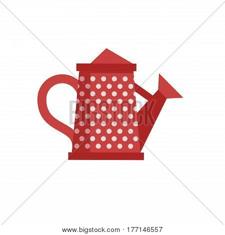 Red watering can with spout vector icon. Spring irrigation symbol.