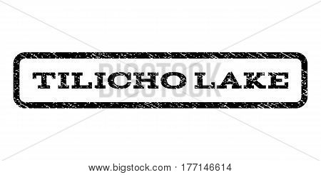 Tilicho Lake watermark stamp. Text tag inside rounded rectangle frame with grunge design style. Rubber seal stamp with dirty texture. Vector black ink imprint on a white background.