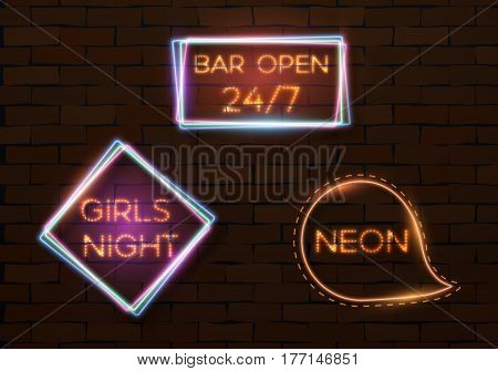 Illustration of Vintage Neon Banner Template. Vector Neon Quote Frame. Bar Advertising Neon Billboard