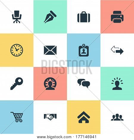 Vector Illustration Set Of Simple Commerce Icons. Elements Work Seat, Password, Member And Other Synonyms Cart, Timer And Friendship.
