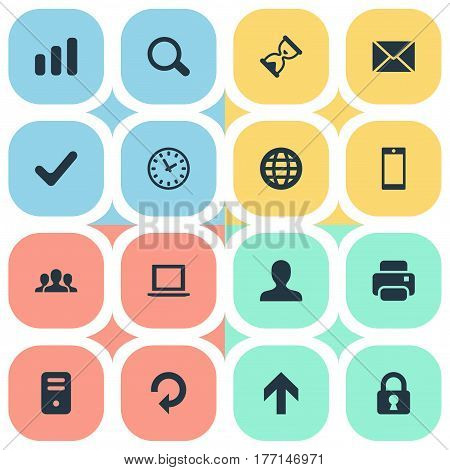 Vector Illustration Set Of Simple Practice Icons. Elements Community, Message, Printout And Other Synonyms Profile, Printer And Invitation.