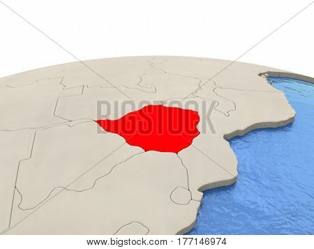 Zimbabwe On Globe With Watery Seas