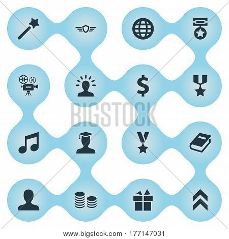 Vector Illustration Set Of Simple Champ Icons. Elements Postgraduate, Currency, World And Other Synonyms Miracle, Movie And Earth.