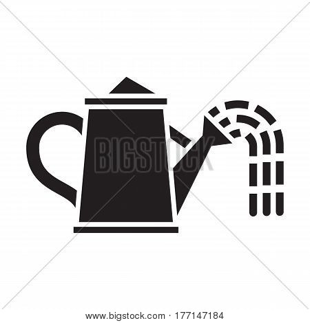Watering can icon in outline design. Garden can sprays water drops silhouette vector illustration.