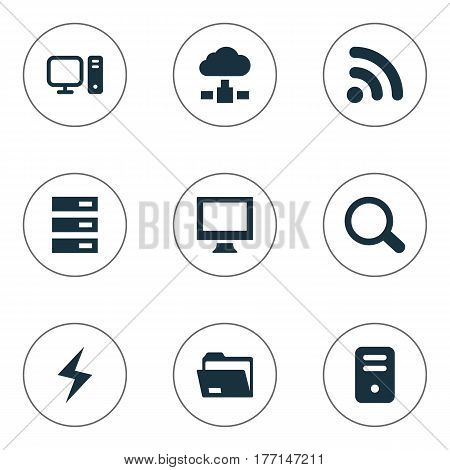 Vector Illustration Set Of Simple Laptop Icons. Elements Monitor, Dossier, Data Center And Other Synonyms System, Computer And Data.